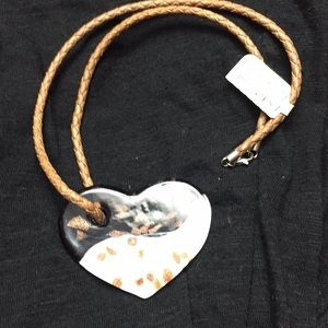 Glass heart with cord necklace